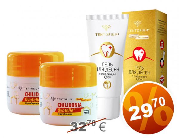 2 x Creme Chilidonia + Prophylaktisches Gel für Zahnfleisch mit Bienengift